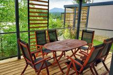 4**** Luxus Mobilheime Terrasse